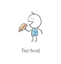 Man eat a hot dog vector