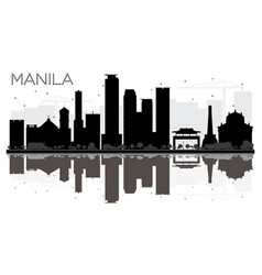 Manila city skyline black and white silhouette vector
