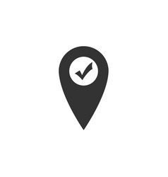 map pointer with check mark icon isolated marker vector image