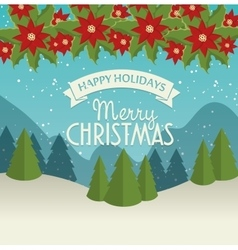 merry christmas card and happy new year landscape vector image