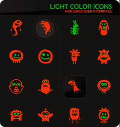 monster icons set vector image