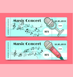 Music concert ticket template banners vector