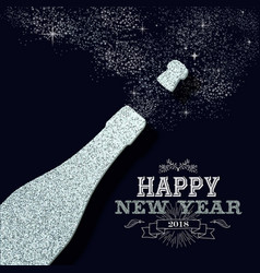 new year 2018 party silver glitter greeting card vector image vector image