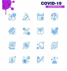 novel coronavirus 2019-ncov 16 blue icon pack vector image