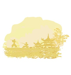 old paper with Samurai silhouette on Asian vector image