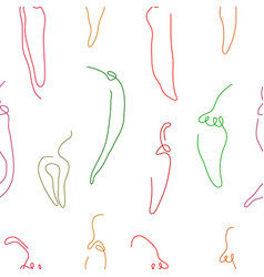 one line art style spicy pepper seamless pattern vector image