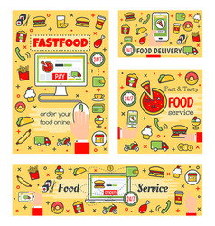 online fast food order payment delivery service vector image