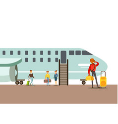 Passengers boarding a plane part people taking vector