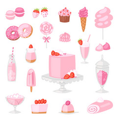 pink food pinkish cake with sweet vector image