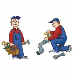 plumber with tools vector image