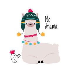 Pretty wolly llama or alpaca wearing knitted hat vector