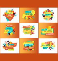 Profitable shop or store sale proposition flyers vector