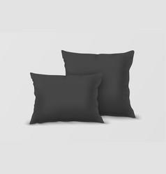 realistic 3d black pillow set closeup vector image