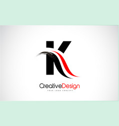 Red and black k letter design brush paint stroke vector