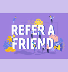 refer a friend text concept with megaphone vector image