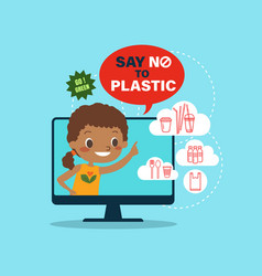 Say no to plastic campaign latin america boy vector
