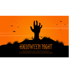 scary landscape with zombie halloween vector image