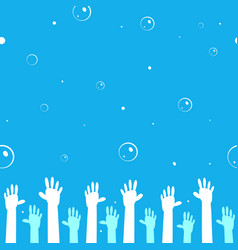 seamless pattern hands up vector image