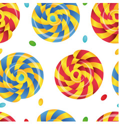 Seamless pattern of lollipops various color vector