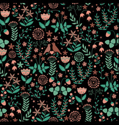 Seamless pattern with cute birds couple vector