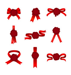 Set btright red baws ribbons and cockades or vector