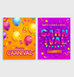 set flyers for carnival party vector image