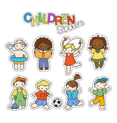 set of cute doodle children in stickers vector image