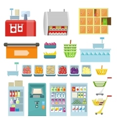 Set of Trading Equipment for Supermarket vector