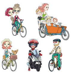 Set people ride a bike vector