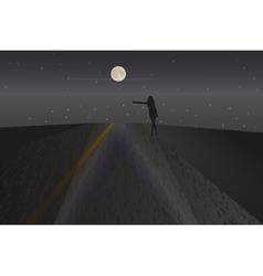 Silhouette a girl in light car headlight vector