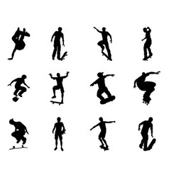 Skateboarder silhouette outlines vector