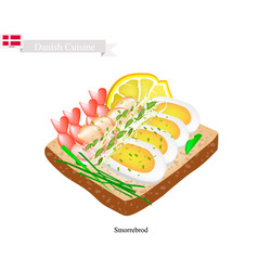 Smorrebrod with shrimp the national dish of denm vector