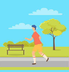 sportive boy runner running in park bench and tree vector image