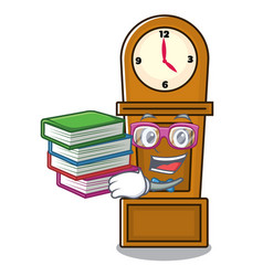 Student with book grandfather clock mascot cartoon vector