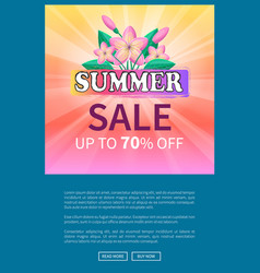 summer sale up 70 off advertisement poster design vector image