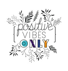 Think positive message with hand made font vector