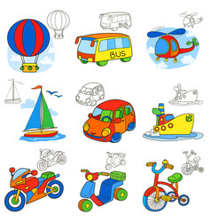 Transport vehicles cartoon coloring book page vector