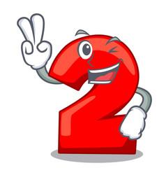 Two finger character number two on wooden door vector