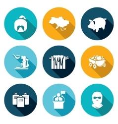 Ukraine energy problems icons set vector