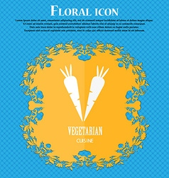 vegetarian cuisine icon Floral flat design on a vector image