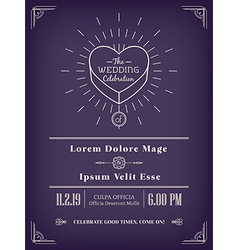 vintage wedding invitation design vector image