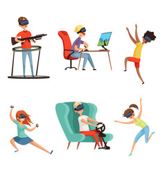 virtual reality characters vr helmet funny vector image