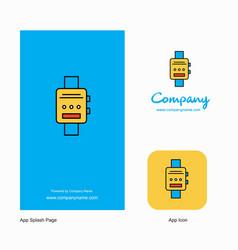 watch company logo app icon and splash page vector image
