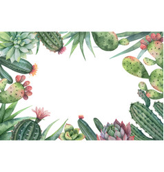 Watercolor card of cacti and succulent vector