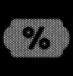 White halftone discount coupon icon vector
