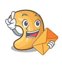 With envelope cashew nut salty roasted on cartoon vector