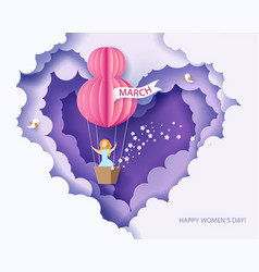 Woman in basket of hot air balloon vector