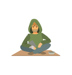 young homeless man character sitting on the street vector image