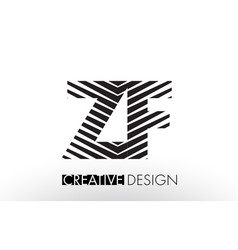 zf z f lines letter design with creative elegant vector image