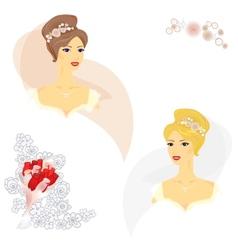 2 beautiful women in wedding dress vector image vector image